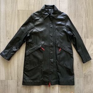 Kushi 100% leather trench coat